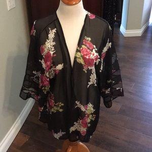 Adorable black and floral sheer kimono